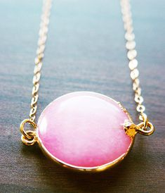 Candy Pink Opal 14k gold pendant necklace.