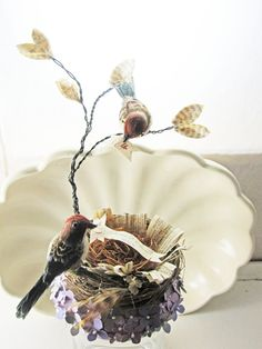 Anthropologie Inspired  Romantic Bird Wedding Cake Topper Unique by TheBohoBride on Etsy