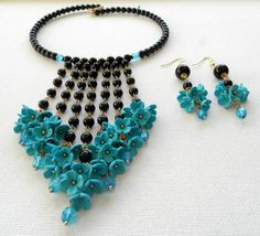 Ombre jewelry - Turquoise black jewelry - Handmade necklace earrings set - Polymer clay jewelry