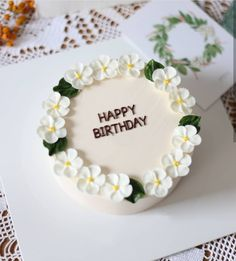 Pretty Birthday Cakes, Pretty Cakes, Beautiful Cakes, Korean Cake, Cute Desserts, Just Cakes, Cake Decorating Techniques, Buttercream Cake, Sweet Cakes