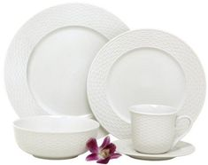 Melange 40-Piece Porcelain Dinnerware Set (Nantucket Weave) | Service for 8 | Microwave, Dishwasher & Oven Safe | Dinner Plate, Salad Plate, Soup Bowl, Cup & Saucer (8 Each)