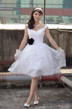 50's Vintage inspired tea length wedding dressMake by 50Timeless, $190.00