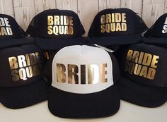 Bride Squad caps - great for hen party holiday away