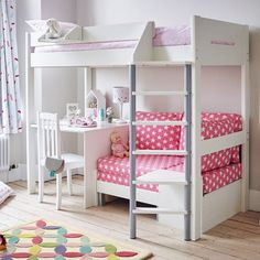 This kids' high sleeper bed is great for older children; it features a desk + a sofa bed for sleepovers. Shop the Merlin High Sleeper with Desk online today. High Sleeper With Desk, High Sleeper Bed, Bunk Bed With Desk, Cabin Bed With Desk, Girls Cabin Bed, Bed For Girls Room, Girl Room, Cabin Beds For Kids, Cute Bedroom Ideas