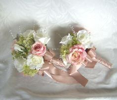 Wedding bouquets and boutonnieres 7 piece set silk bridal bouquets pink blush roses white roses green hydrangea