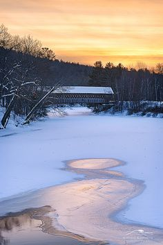 Snow Covered Bridge in New Hampshire by Michael Blanchette