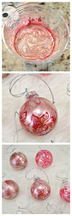 DIY Marbled Christmas Ornaments DIY Marbled Christmas Ornaments If you're into a handmade Christmas, you have to try these DIY Marbled Christmas Ornaments! They are so simple and make a huge impact! Christmas Ornament Crafts, Christmas Art, Christmas Projects, Holiday Crafts, Christmas Holidays, White Christmas, Christmas Ideas, Disney Holidays, Christmas Vacation