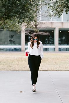 On a real note, I needed like 5 of these Venti teas to get through this hump day!  This look is perfect for transitioning from work to a night out (do I see you over there, Friday?! I'm waiiitingg)! The top is from H&M last summer, but I've linking some similar tops (as well as the rest of the outfit) here 👉🏻 http://liketk.it/2qItF  @liketoknow.it  #liketkit #LTKStyleTip