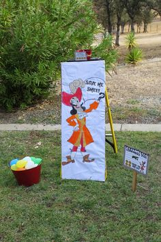 cannonball toss pirate party game, hit captain hook with a water balloon and earn gold dubloons
