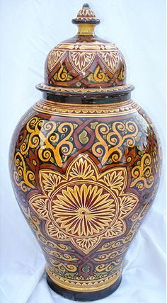 Carved and hand painted Moroccan lidded / ginger jar