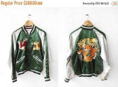 SUKAJAN Japanese Tokyo Eagles Dragon Fuji Korea Vintage 80s Varsity Jacket Embroidered Souvenir Zipper Satin Reversible Jacket  Tag reads: