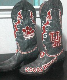 University of Houston Painted Boots