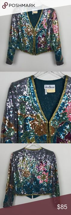 "[Vintage] Sequin Embellished Floral Jacket Teal 10 Amazing vintage fully embellished and Sequin covered jacket. Long sleeves. Hook and eye front closure. Lined. Shoulder pads. Shorter cropped length. Jack Bryan. Made in Hong Kong. Vintage size 10 runs small and fits more like a modern size Small.   ▪️Pit to Pit: 18"" ▪️Length: 19"" ▪️Sleeve Length: 22"" ▪️Shoulders: 15"" ▪️Condition: Pre-Owned. Excellent condition. No flaws or missing sequins.   ▫️O51 Vintage Jackets & Coats"