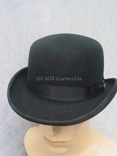 06ab674212608 Derby Bowler Old West shallow hat 100% wool felt black quality hat S-XL