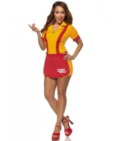 Easy yet effective costume based on the sitcom 2 Broke Girls, keep earning the bucks girls and you'll get that cupcake business if it kills you. This 2 Broke Waitress Girls Womens Costume lets you become Max or Caroline with name badges provided for Girl Costumes, Adult Costumes, Costumes For Women, Movie Costumes, Cosplay Costumes, 2 Broke Girls, Halloween Costumes Plus Size, Halloween Ideas, Women Halloween