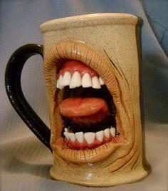 ceramic coffee mugs with Faces on the mug   unique-pottery-mugs