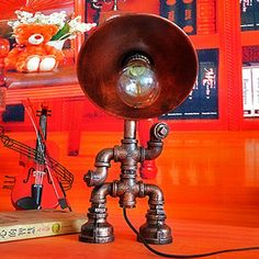 62.43$  Buy here - http://alilzd.worldwells.pw/go.php?t=32730875392 - Led Light Desk Lamp Creative Personality Retro Industrial Water Pipe Table Lamp American Bar Cafe Desk Lighting