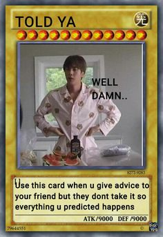 Yugioh Trap Cards, Funny Yugioh Cards, Funny Cards, Bts Memes Hilarious, Bts Funny Videos, Pokemon Card Memes, Drama Funny, Bts Meme Faces, Kdrama Memes