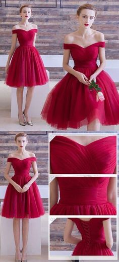 off the shoulder Homecoming Dresses,Simple Homecoming Dresses,Red Homecoming Dresses,Short Prom Dress,Sexy tulle cocktail dress