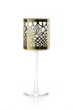 Marrakesh Gold Water Globet | Roberto Cavalli Home #RobertoCavalliHome #Tableware #WaterGlobet #Gold