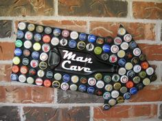 Man Cave Sign Beer Bottle Caps Mosaic with Melted Beer  Bottle http://hative.com/man-cave-stuff-ideas/