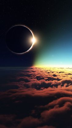 Amazing view of a solar eclipse from above the clouds. This is my desktop wallpaper! Cool Wallpaper, Wallpaper Backgrounds, Iphone Wallpapers, Iphone Wallpaper Eclipse, Space Phone Wallpaper, Wallpaper Ideas, Cosmos, Pretty Pictures, Cool Photos