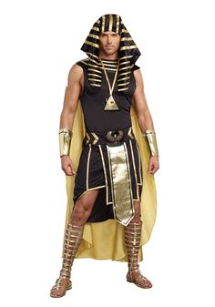 [Mens Halloween Costumes] Dreamgirl Men's King of Egypt King Tut Costume, Black/Gold, Large -- Check out this great product. (This is an affiliate link) Egyptian Headpiece, Egyptian Goddess Costume, Costumes Sexy Halloween, Adult Costumes, Male Costumes, Trendy Halloween, Spirit Halloween, Pharoah Costume, Children Costumes