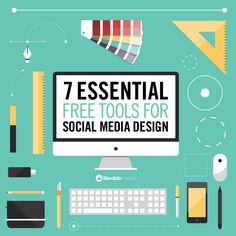 7 Essential Free Tools for Social Media Design - There is no excuse to post ugly images! Use these free tools to design eye catching social media posts Social Marketing, Marketing Mail, Inbound Marketing, Marketing Online, Digital Marketing Strategy, Marketing Tools, Internet Marketing, Web Design, Tool Design