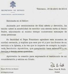 Del NO amor: 20/06/2014,  recibí una respuesta del Papa Francis...