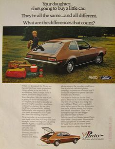 1971 Ford Pinto Runabout Ad ~ Daughter Will Buy a Car, Vintage Ford Ads Ford Pinto, Vintage Advertisements, Vintage Ads, Car Buying Guide, Nostalgic Images, Ford Maverick, Car Purchase, Ford Classic Cars, Car Advertising