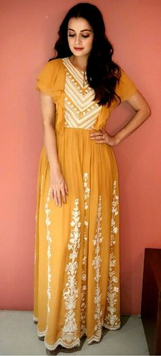 50f0444fad Long georgette Kurti with white cotton thread embroidery and frilly  sleeves. Frock Models, Kurti
