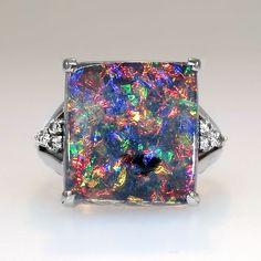 Huge Vintage Solid Black Opal & Diamond FIligree Ring Platinum