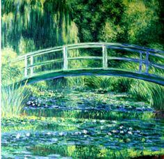 The Water-Lily Pond 1899 - Claude Monet hand-painted oil painting replica,Green Harmony,Japanese-style wood bridge,exotic,domestic plantings Paintings Famous, Monet Paintings, Impressionist Paintings, Famous Artwork, Impressionism Art, Indian Paintings, Famous Artists, Bridge Painting, Monet Water Lilies