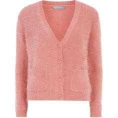 Dorothy Perkins Petite pink eyelash cardigan (£15) found on Polyvore