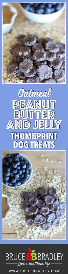 These Homemade Peanut Butter Dog Treats are made with 100 real ingredients like oatmeal, peanut butter, blueberries, and applesauce. No additives or artificial ingredients for your puppy! by ronda Puppy Treats, Diy Dog Treats, Homemade Dog Treats, Dog Treat Recipes, Healthy Dog Treats, Dog Food Recipes, Peanut Butter Dog Treats, Homemade Peanut Butter, Homemade Oatmeal