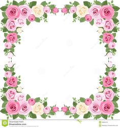Free printable clip art borders free digital flower frame png and vector illustration of vintage frame with pink and white roses rose mightylinksfo