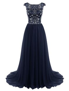 Tideclothes Long Beads Prom Dress Tulle Cap Sleeves Evening Dress Black US2