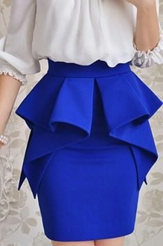 Multi ruffle layer peplum skirt sapphire/tardis blue great for work African Fashion Dresses, African Dress, Mode Outfits, Fashion Outfits, Womens Fashion, Fashion Sets, Skirt Outfits, Look Fashion, Fashion Design