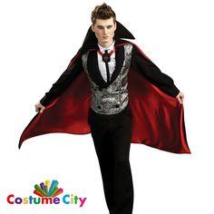 Nightfall Vampire Dracula Costume Adult s Men s Halloween Fancy Dress Party