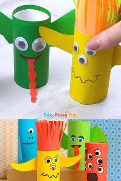 Need a fun and quick Halloween craft for kids to make? These pape roll monsters are insanely fun to make. Halloween Crafts For Kids To Make, Halloween Activities For Kids, Diy Crafts For Kids, Fun Crafts, Halloween Halloween, Vintage Halloween, Halloween Labels, Beach Crafts, Halloween Pumpkins
