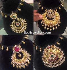 Black Dori Necklace with Changeable Pendants - Indian Jewellery Designs Indian Jewellery Design, Indian Jewelry, Jewelry Design, Pendant Jewelry, Beaded Jewelry, Gold Jewelry, Chain Pendants, Antique Jewelry, Gold Necklace