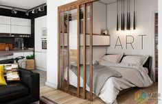 Separate bedroom in one room, apartment in loft style One Room Apartment, Apartment Layout, Apartment Interior, Apartment Ideas, Small Apartment Plans, Loft Style Apartments, Tiny Apartments, Studio Apartment Design, Studio Apartment Decorating