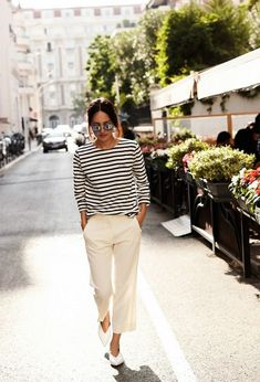 Striped top and cropped off-white pants- looks like a vacation outfit to me!