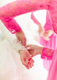 I like the idea of painting your nails the same color as your bridesmaids dresses!