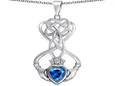 Star K Celtic Knot Claddagh Heart Pendant Necklace with Heart Shape Simulated Blue Topaz