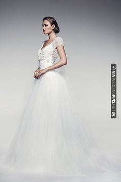 Grace Kelly esque (love the detachable tulle skirt!) | Bridal Musings | CHECK OUT MORE IDEAS AT WEDDINGPINS.NET | #weddings #weddingdress #inspirational