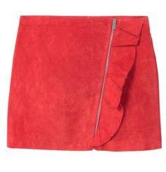 MANGO- jupe à Volant en daim rouge- 49€99