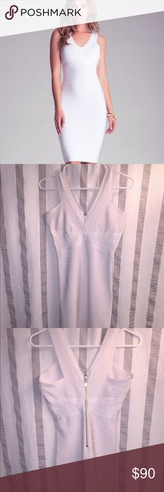 Bebe white midi bandage dress. Size medium White medium Bebe midi bandage dress. Worn only a couple times in good condition. 🚫 trades. bebe Dresses