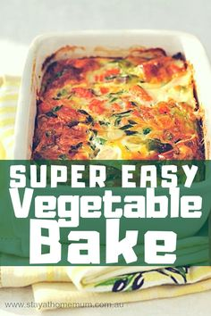 Every one of my friends who has made this Super Easy Vegetable Bake is a witness at how easy and delicious this is. You see, it is a great way to use up all the vegetables slowly dying in the veggie drawer, plus because you are adding yummies, it's a good way to get kids to eat their veggies! Lasagne Recipes, Veg Recipes, Vegetarian Recipes, Cooking Recipes, Healthy Recipes, Easy Vegetable Recipes, Recipies, Vegetarian Bake, Vegetable Loaf Recipe