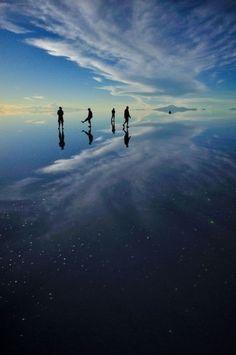 Salar de Uyuni, Bolivia. The world's largest salt flat, it creates a mirror effect after the rain.